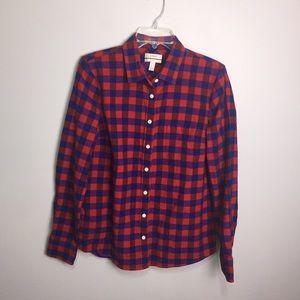 J. Crew Boy Red Plaid Button Front Shirt Size 10